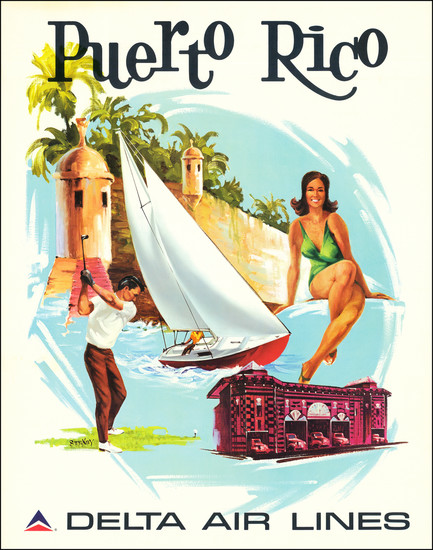 96-Puerto Rico and Travel Posters Map By Frederick Sweeney / Delta Air Lines