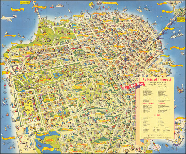 96-Pictorial Maps and San Francisco & Bay Area Map By Don Bloodgood