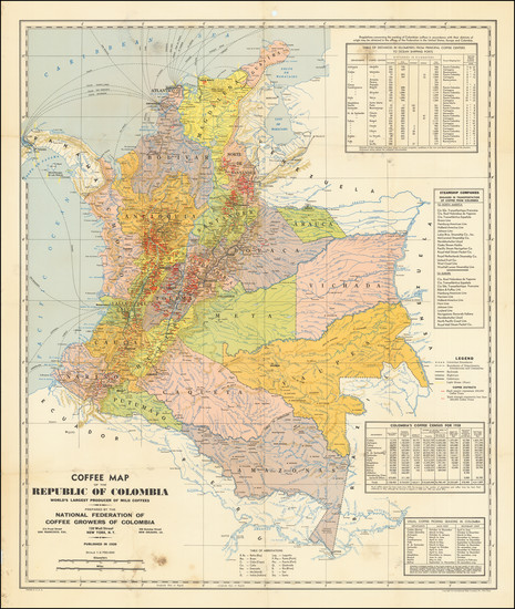96-Colombia Map By National Federation of Coffee Growers of Colombia