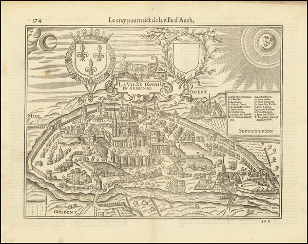 60-Other French Cities Map By Francois De Belleforest