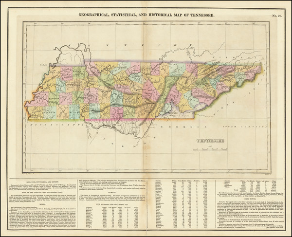 68-Tennessee Map By Henry Charles Carey  &  Isaac Lea