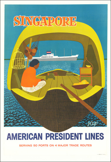 19-Singapore and Travel Posters Map By J. Clift / American President Lines