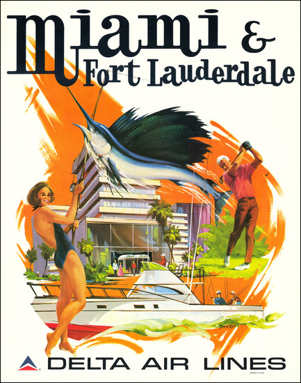 48-Florida and Travel Posters Map By Frederick Sweeney / Delta Air Lines