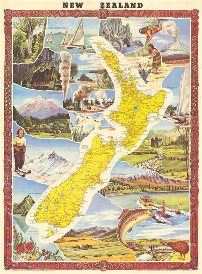 55-New Zealand and Pictorial Maps Map By G.B. Scott