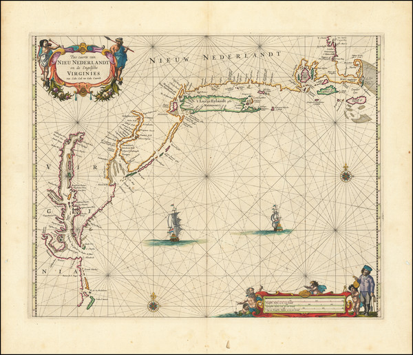 26-New England, New York State, Mid-Atlantic and Southeast Map By Pieter Goos