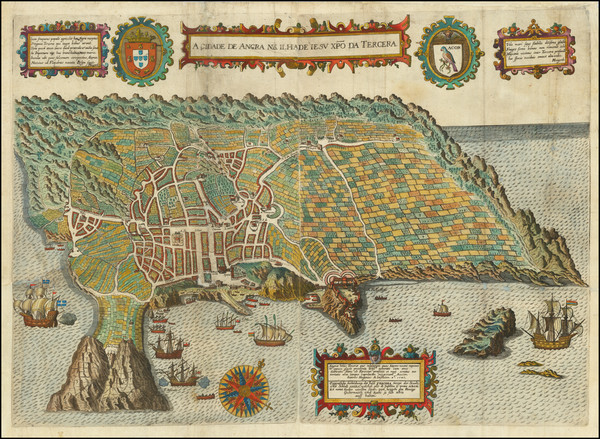 61-Portugal Map By Theodor De Bry