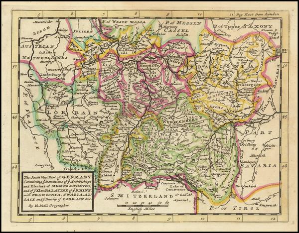 69-Süddeutschland Map By Herman Moll