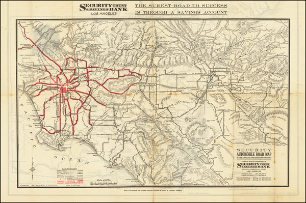 38-Los Angeles and San Diego Map By Security-First National Bank of Los Angeles