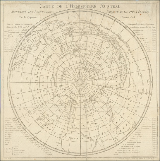 17-Polar Maps, Australia and Oceania Map By Jacques Nicolas Bellin / James Cook
