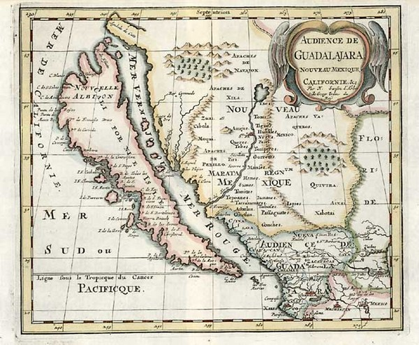61-Southwest, Mexico, Baja California and California Map By Nicolas Sanson