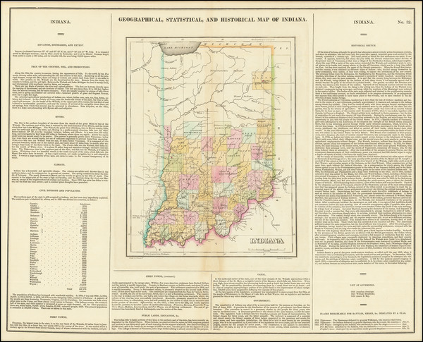 7-Indiana Map By Henry Charles Carey  &  Isaac Lea