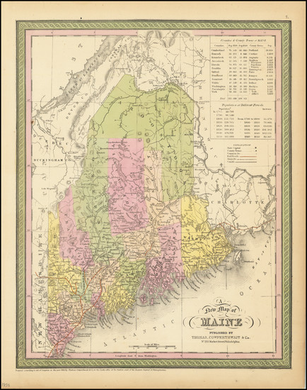 74-Maine Map By Thomas, Cowperthwait & Co.