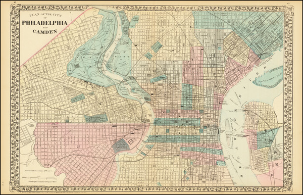 75-Philadelphia Map By Samuel Augustus Mitchell Jr.