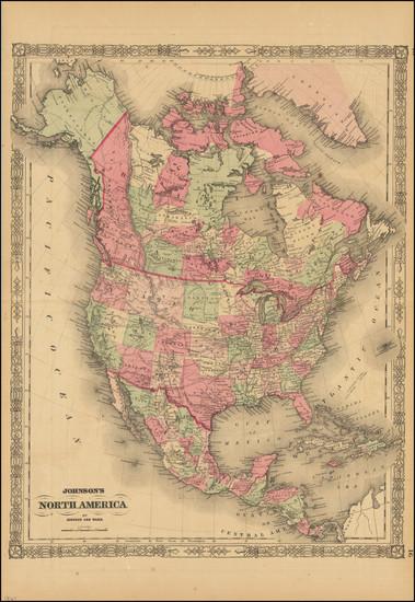 24-North America Map By Alvin Jewett Johnson  &  Benjamin P Ward