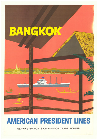 67-Thailand, Cambodia, Vietnam Map By J. Clift / American President Lines