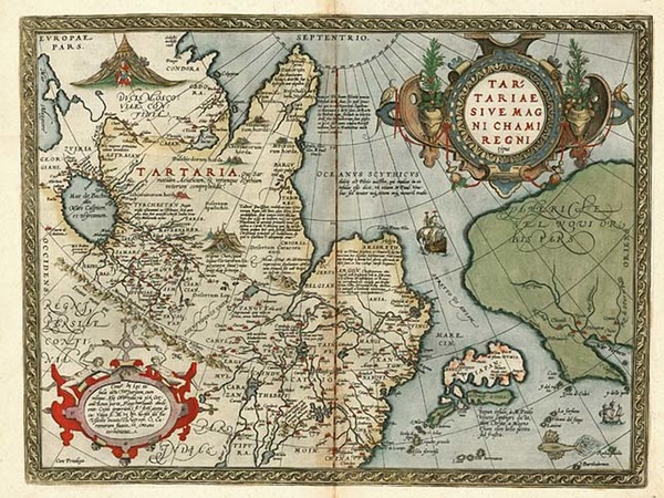 49-Asia, Japan, Central Asia & Caucasus and California Map By Abraham Ortelius