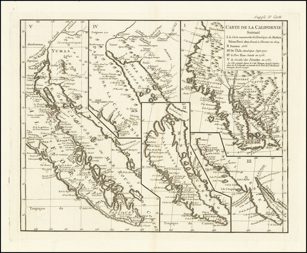 79-Baja California, California and California as an Island Map By Denis Diderot / Didier Robert de