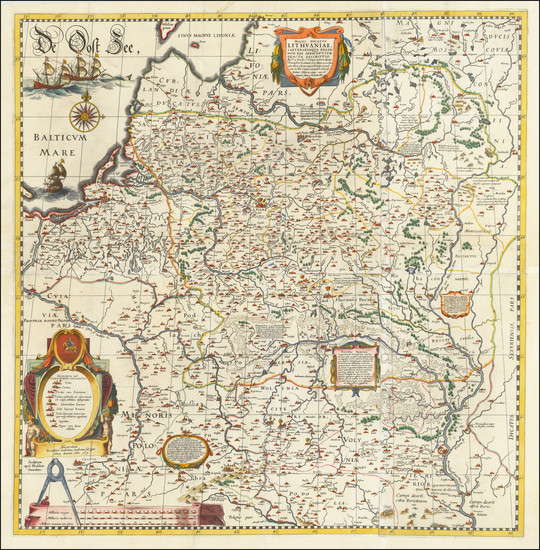 4-Poland, Russia, Ukraine and Baltic Countries Map By Willem Janszoon Blaeu / Hessel Gerritsz
