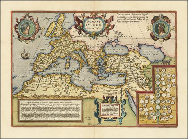 23-Europe, Italy, Mediterranean and Turkey & Asia Minor Map By Abraham Ortelius