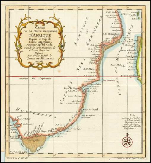 38-South Africa and East Africa Map By Jacques Nicolas Bellin