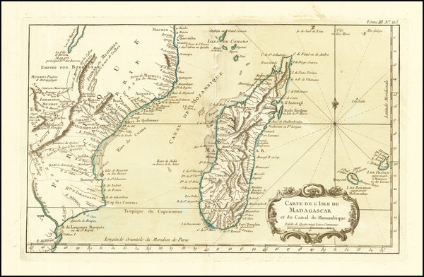 74-East Africa and African Islands, including Madagascar Map By Jacques Nicolas Bellin