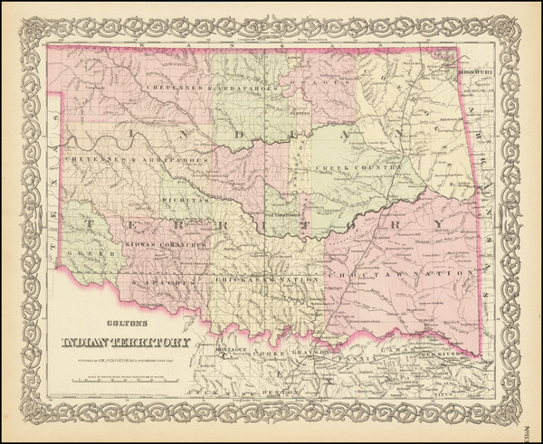 41-Oklahoma & Indian Territory Map By G.W.  & C.B. Colton