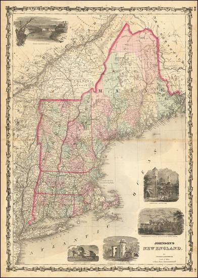 85-New England, Maine, Massachusetts, New Hampshire, Rhode Island and Vermont Map By Alvin Jewett