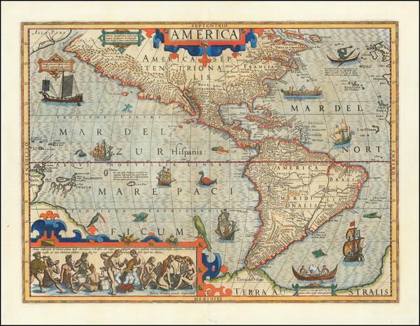 39-Western Hemisphere and America Map By Jodocus Hondius