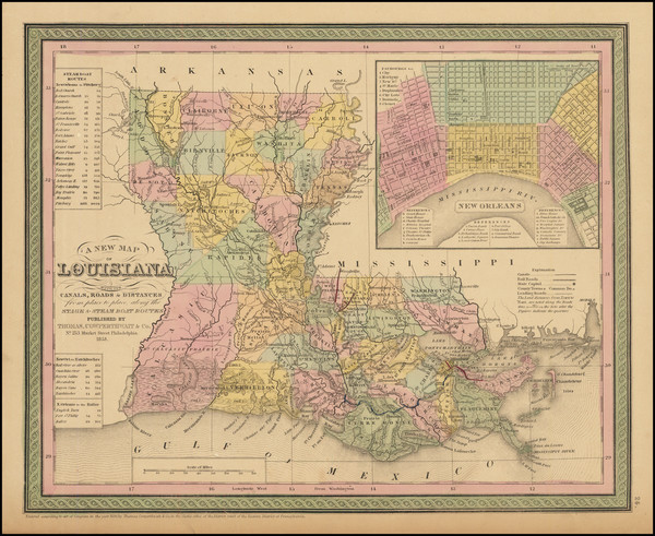 58-South, Louisiana and New Orleans Map By Thomas Cowperthwait & Co.