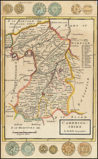 20-British Counties Map By Herman Moll