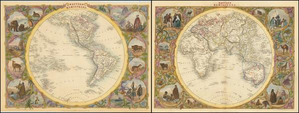 71-World, Eastern Hemisphere and Western Hemisphere Map By John Tallis