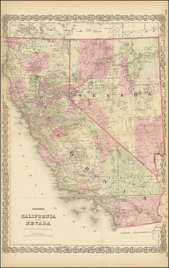 74-Nevada and California Map By G.W.  & C.B. Colton