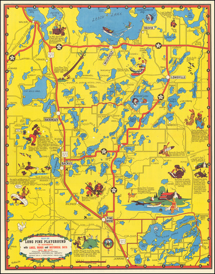 46-Minnesota and Pictorial Maps Map By W. A. Fisher Company
