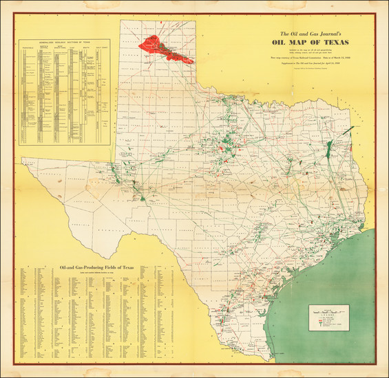 14-Texas and Geological Map By Petroleum Publishing Company