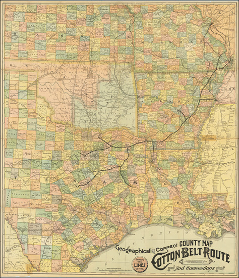50-Louisiana, Arkansas, Texas, Kansas, Missouri and Oklahoma & Indian Territory Map By St. Lou