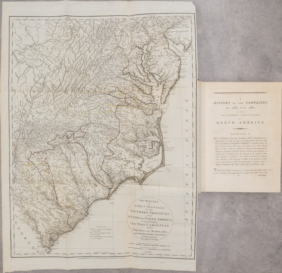 19-Southeast, Rare Books and American Revolution Map By Banastre Tarleton