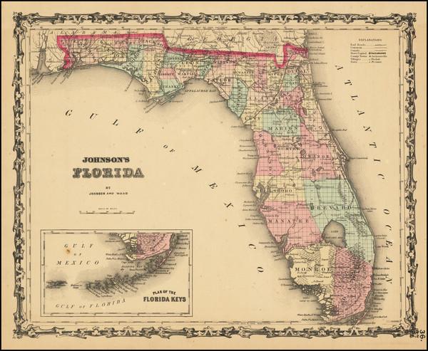 66-Florida Map By Alvin Jewett Johnson  &  Benjamin P Ward