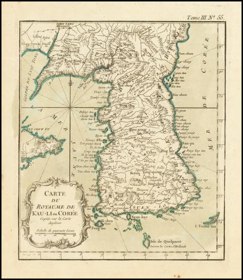 38-Korea Map By Jacques Nicolas Bellin