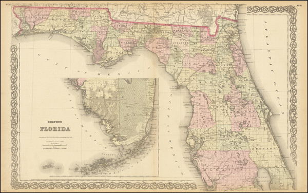 32-Florida Map By G.W.  & C.B. Colton