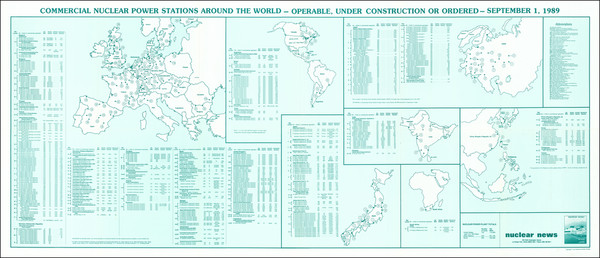 45-World, Europe, Russia, Japan, India, Southeast Asia, Africa and America Map By Nuclear News