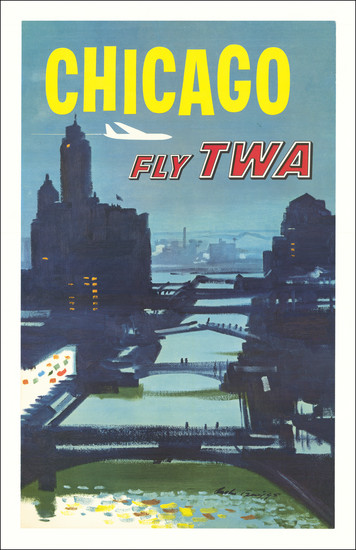 35-Chicago and Travel Posters Map By Trans World Airlines / Austin Briggs