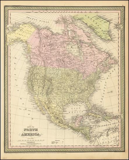 69-North America Map By Thomas, Cowperthwait & Co.