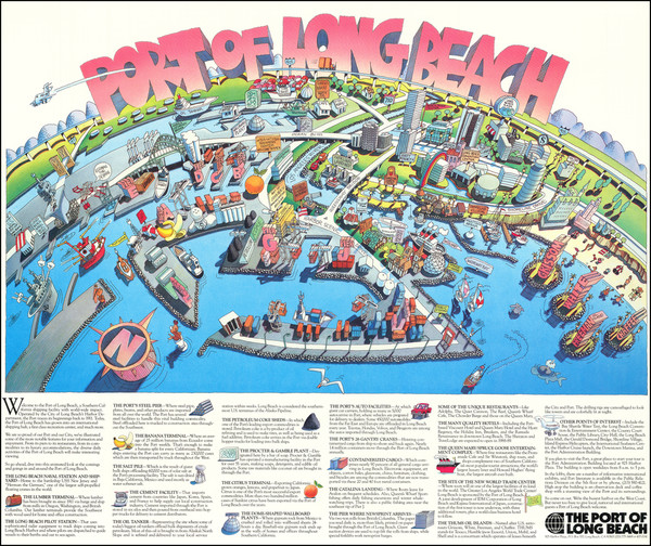 75-Pictorial Maps, Los Angeles and Other California Cities Map By Port of Long Beach