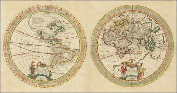 15-World, Eastern Hemisphere and Western Hemisphere Map By Melchior Tavernier