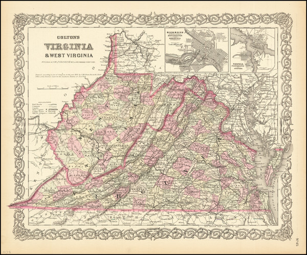 7-West Virginia and Virginia Map By G.W.  & C.B. Colton