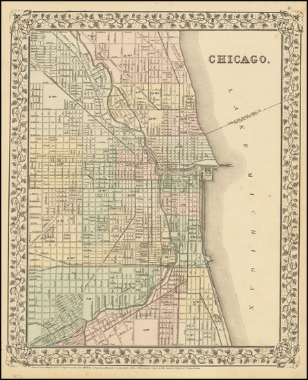 8-Illinois and Chicago Map By Samuel Augustus Mitchell Jr.