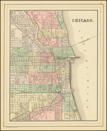 53-Illinois and Chicago Map By Samuel Augustus Mitchell Jr.