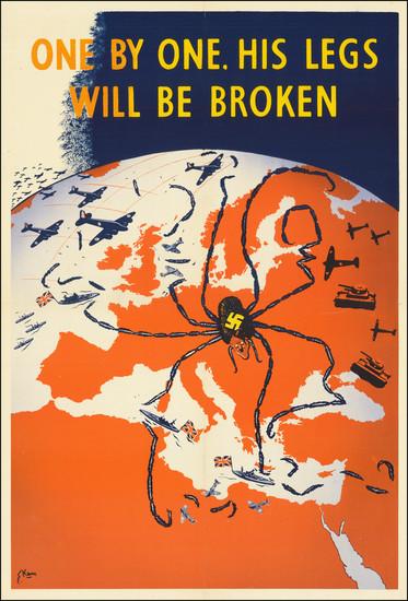7-Europe, World War II and Travel Posters Map By Kimon Evan Marengo (aka Kem)