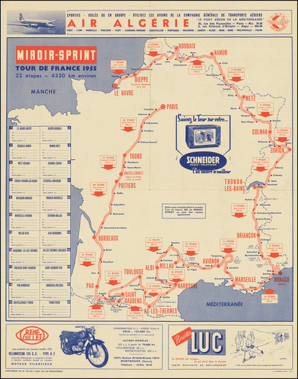 80-France and Pictorial Maps Map By Miroir Sprint