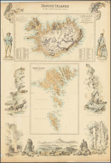 22-Iceland and Denmark Map By Archibald Fullarton & Co.